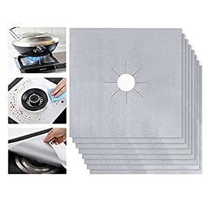 Gas Range Protectors, Ballery 8 Pcs tovetop Burner Protector, Stovetop Burners Covers Liner Clean Mat Pad, Reusable, Non-stick, Dishwasher Safe, Easy to Clean (Silver)