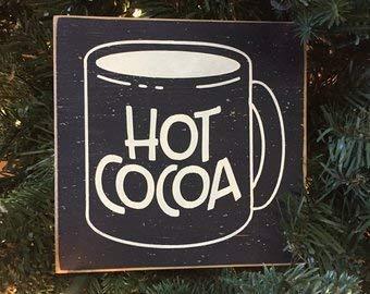 Brooer2ick Placa Decorativa de Madera para estantería, diseño rústico de Cacao Caliente