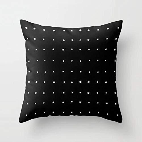 ASADVE Funda de cojín geométrica, color blanco y negro, de algodón, de poliéster, funda de almohada geométrica, cojín decorativo de arte decorativo, almohada Drd162-15