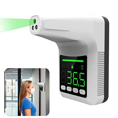 Termometro a infrarossi montato a parete , Termometro digitale frontale senza contatto con schermo LCD di allarme per uffici, fabbriche, negozi, scuole (senza batteria inclusa)