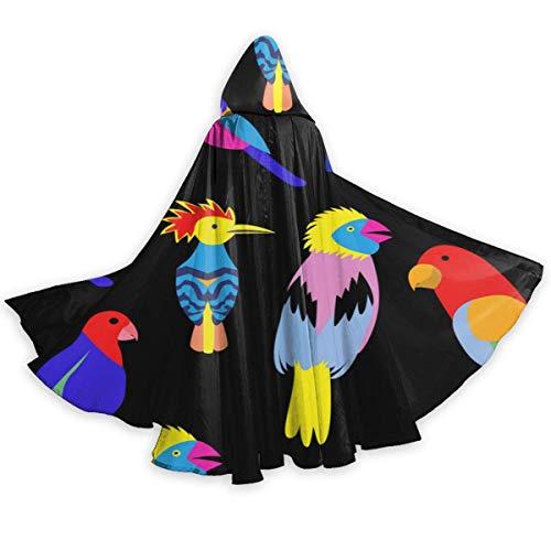 Esmund Capa para Hombres y Fondo Transparente Woemn con exóticas Aves Tropicales Feliz Halloween Capa de Saludo Cabo Halloween Negro