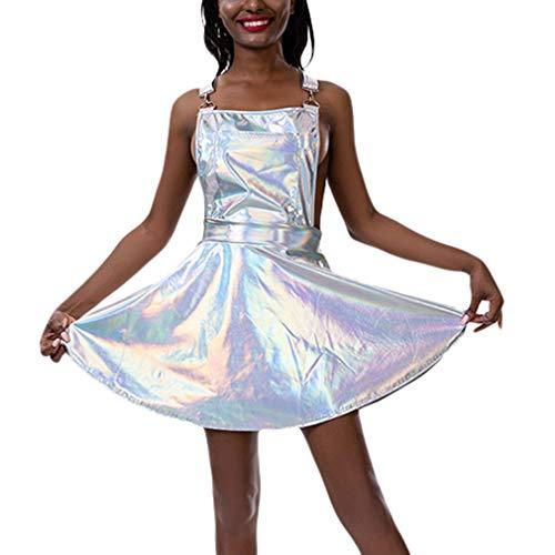Yying Holographische Skater Kleid Frauen Musik Festival Rave Kleid Kleidung Outfits Shiny Vintage Open Back Kleider Kleid