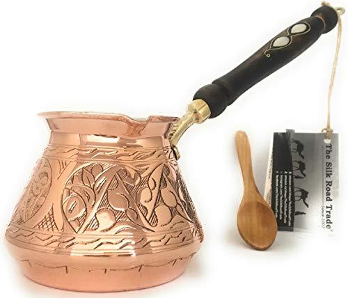 The Silk Road Trade - ACI Serie (groß) - dickste massive gehämmerte und gravierte Kupfer türkische griechische arabische Kaffeekanne / Kaffeemaschine Cezve Ibrik Briki mit Holzgriff (532 ml)
