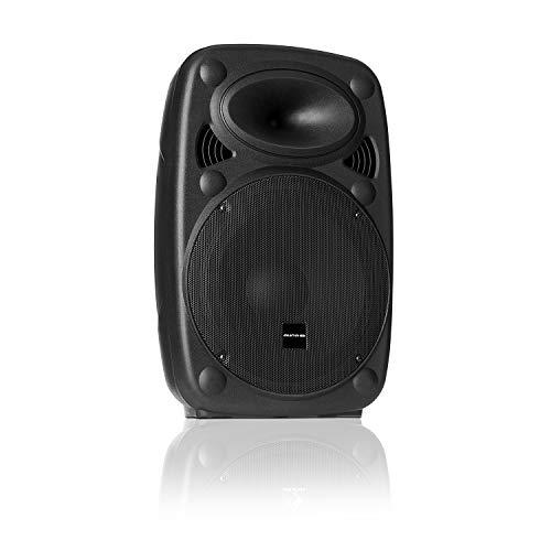 "auna SLK-8-A - Aktiver PA Lautsprecher, mobile PA Anlage, Bodenmonitor, 8\"" (20 cm), 300 W max, XMR Bass Technology, Bluetooth, USB, SD, MP3, Line In/Out, Flansch-Anschluss, schwarz"