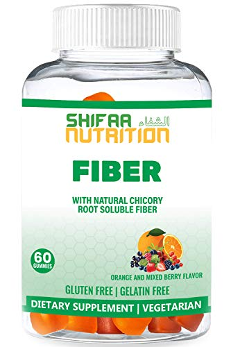 Fiber Gummies for Adults & Kids by SHIFAA NUTRITION | Fiber Supplement to Support Constipation, Digestion, Regulation, Immune & Weight Management | Gluten Free | Vegan | Non-GMO | Halal | 20 Servings