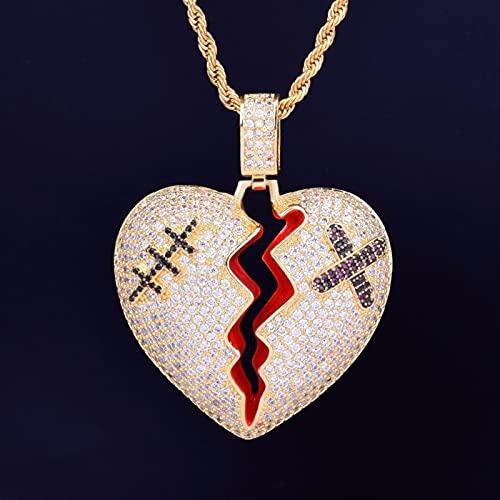 JOMYO Cubanas Cadenas, Cadenas Plata Hombre, Corazón Roto, Hip Hop Full Diamond Ribbon Ayuda Heartbreak Colgante, Conjunto De Diamantes Collar, Colgante del Corazón (Color : Gold)