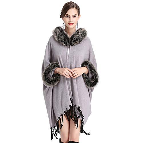 vannawong Poncho asimétrico de pelo sintético para mujer, de gran tamaño, con capucha y borlas gris Tallaúnica