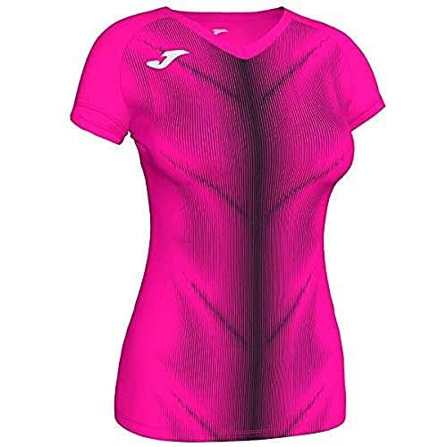 Joma Olimpia Camisetas, Mujer, Rosa Fluor-Negro, S