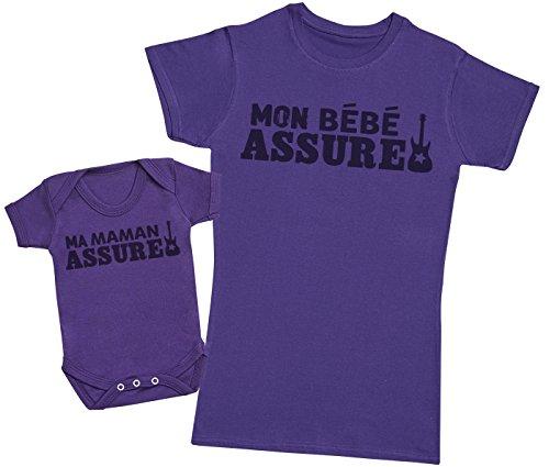 Zarlivia Clothing Mon bébé Assure & Mon Maman Assure - Ensemble Mère Bébé Cadeau - Femme T Shirt & bébé Bodys - Violet - L & 0-3 Mois