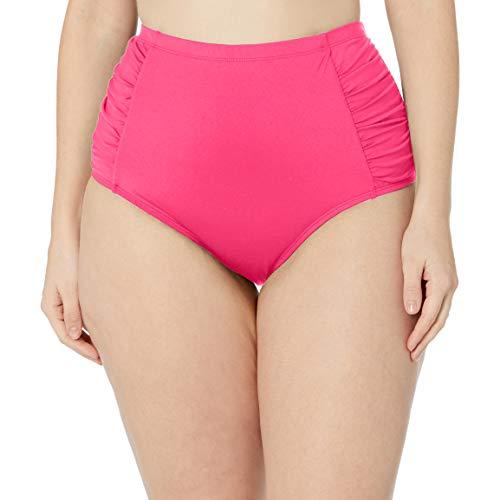 La Blanca Women's Plus Size Island Goddess Side Shirred High Waist Bikini Swimsuit Bottom, Pink, 22W