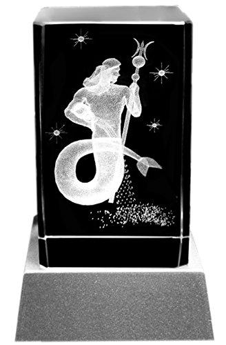 Kaltner Präsente Stimmungslicht – EIN ganz besonderes Geschenk: LED Kerze/Kristall Glasblock / 3D-Laser-Gravur Sternzeichen Wassermann