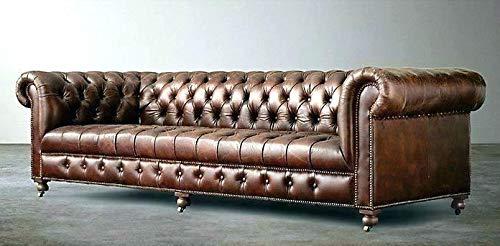 JVmoebel Chesterfield - Sofá de 4 plazas, estilo antiguo, de piel y tela, tela