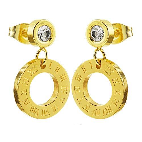 Dames oorstekers oorring gevat kristal roestvrij staal goud stud met ring Romeinse cijfers klok 10 mm stijldoel A15