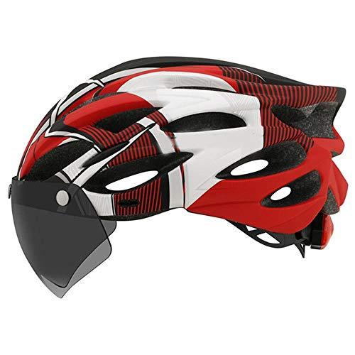 XYBB Casco Bici Casco da Bici Ultraleggero con Visiera Rimovibile Casco da Bici da Corsa MTB con fanale Posteriore Rosso