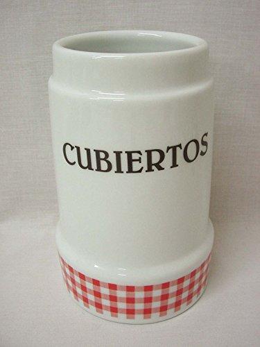Bote CUBERTERO ESCURRE Cubiertos Ceramica SIN Cubiertos Grande Porcelana Vichy Rojo
