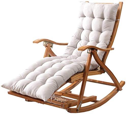 Liegestuhl klappbar Relaxliege garten Camping Schaukelstuhl Schwerelosigkeit Stuhl Outdoor Klappliege Bambus Holz Lounge Chair mit grau gepolstert für Draussen, Garten, Terrasse, Am Pool Max.250kg,#2