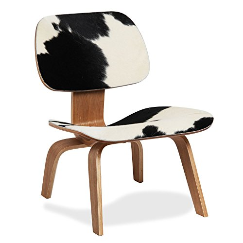 Lo+DeModa Plywood Sedia, Compensato Noce/Pelle di Pony, Bianco/Nero, 61x50x11 cm
