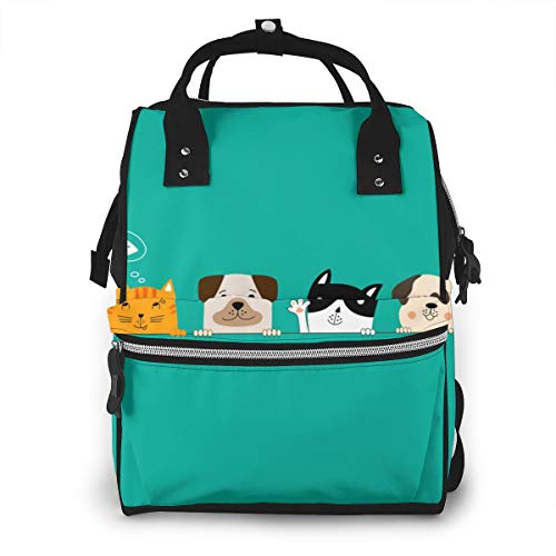 Funny Dog And Cute Cat Best Friends Diaper Bag Backpack Classic Travel Nappy Bags For Dad Mom Toddler