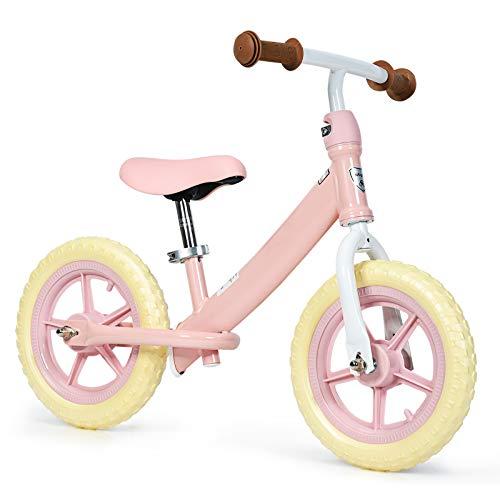 DREAMADE Bicicletta Senza Pedali, con Manubrio e Sedile Regolabili, Bicicletta Equilibrio per Bambini 2-5 Anni, Prima Bici Senza Pedali con Ruote in Gomma Eva (Rosa)