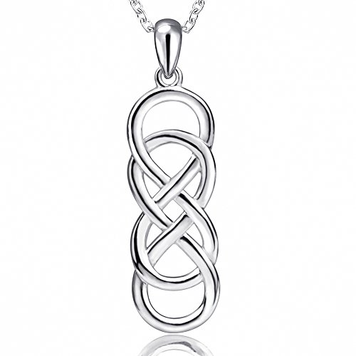 Celtic Infinity Necklace for Women - 925 Sterling Silver Infinite Love Pendant Eternal Jewelry Gifts for Girlfriend Wife