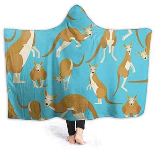 """XXWK Kuscheldecken Überwürfe Decken Hooded Blankets Funny Cartoon Kangaroo Zoo Printed Super Soft Sherpal Plush Wearable Throw Blanket Black 60\""""x50\"""" Inch Lightweight"""