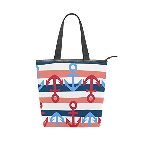 MNSRUU 157856346 Handtasche/Strandtasche/Einkaufstasche, groß, Segeltuch, Weiß und Blau, marineblau, gestreift, niedlich, einfach, nautisch, für den Sommer, Urlaub,...