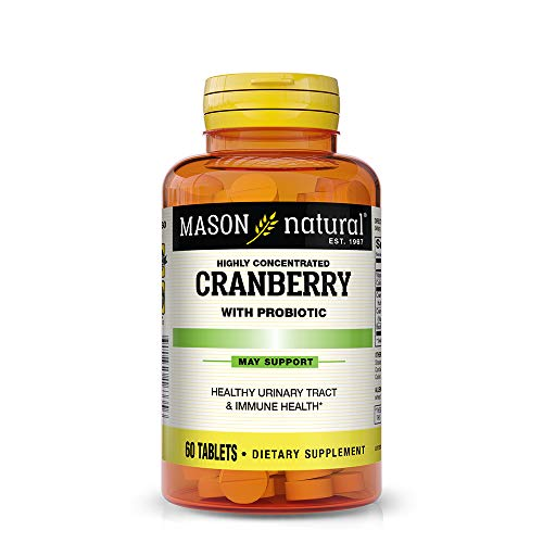 Mason Natural, Cranberry with Probiotic and Added Vitamin C and Calcium Tablets, 60 Count, Dietary Supplement that supports Immune and Intestinal Health