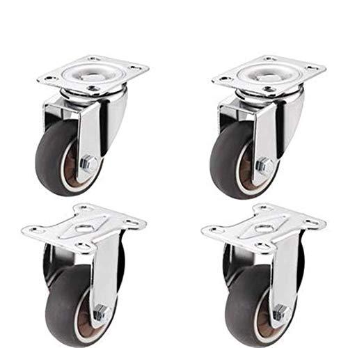 Schroefwielen, 4PCS 2 inch kleine mini mute-kantoormeubel met rem TPR Soft Directional Wheel (kleur: A)