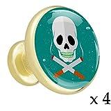 Crâne Et Cigarettes Fond Bleu Bouton de tiroir placard Poignées de porte de meuble en or métal doré avec verre de cristal pour la commode penderie porte(paquet de 4) 3.2x3x1.7cm