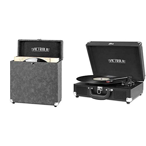 Victrola Vintage Vinyl Record Storage and Carrying Case, Gray, 1SFA (VSC-20-GRY) & Vintage 3-Speed Bluetooth Portable Suitcase Record Player with Built-in Speakers, Black, Model Number: VSC-550BT-BK