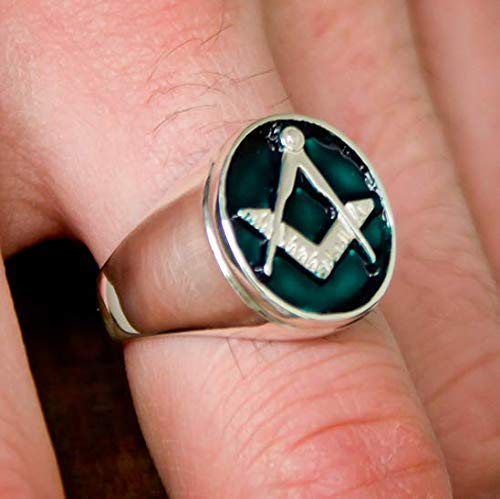 Blue-green Masonic ring - Blue Lodge of Freemasonry | Lodge Ring | Square and Compass ring | Freemason Fraternity Ring | Sterling Silver 925, Yellow, White, Rose Gold | Handmade | All sizes