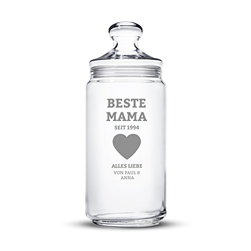 Casa Vivente Keksglas mit Gravur – Beste Mama – Personalisiert mit Namen und Jahreszahl – Echtglas – Vorratsglas mit Deckel – Muttertagsgeschenk – Geschenkidee für Mama – Füllmenge: 1500 ml