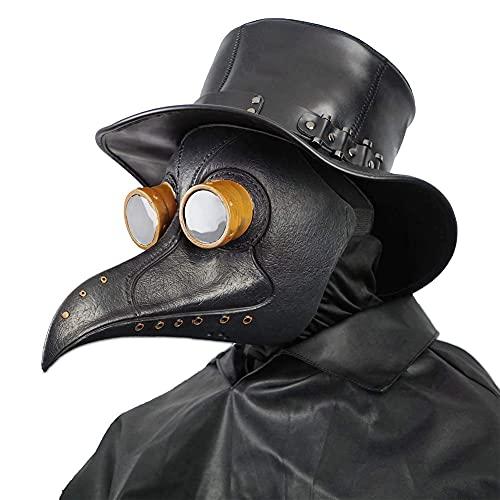 Creepy Party Dottore della Peste Maschera Rivetto Nero Naso Lungo Maschere Steampunk Costume per Ballo in Maschera Festa di Halloween Cosplay di Carnevale