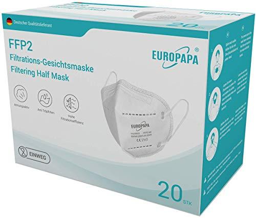 EUROPAPA 20x FFP2 Atemschutzmaske CE 2163 Zertifiziert 5-Lagen hygienisch einzelverpackt Mundschutzmaske EU 2016/425