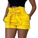 SHOBDW Pantalones de Verano de Moda Pantalones Cortos Deportivos de Las Mujeres Cortos de la Yoga de la Cintura del Entrenamiento de la Cintura Flaca (L, Gris)