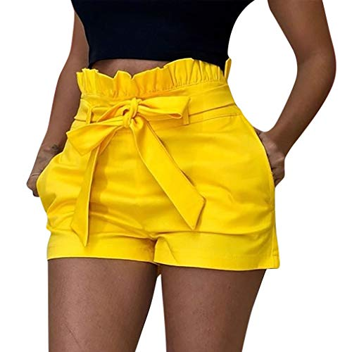 Woman Pocket Bandage Shorts Sexy Hollow Out Summer Buds Short Pants 2020 (Yellow, XL)