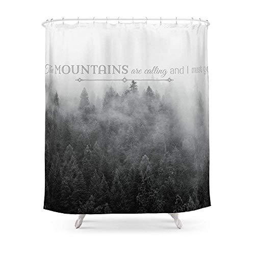 Suminla-Home Badezimmer die Berge Sind Calling schwarz & weiß Zitat Foto Duschvorhang 182,9cm von 182,9cm