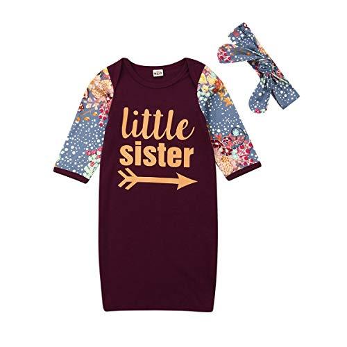 Chemises de Nuit Nouveau-né bébé Fille avec Bandeau Petite Soeur Costume Ensembles Jupe de Couchage (Noir, 90)