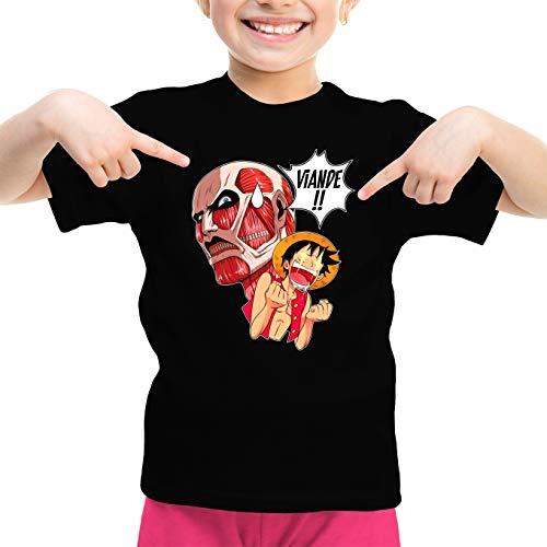 T-Shirt Enfant Fille Noir Parodie One Piece - Attaque des Titans - Luffy VS Titan Colossal - Viande !!!! (T-Shirt Enfant de qualité Premium de Taille 3-4 Ans - imprimé en France)
