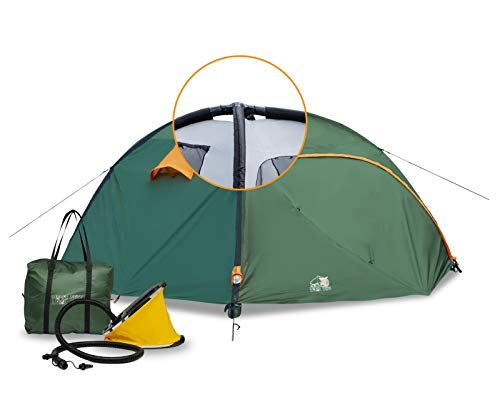Ryno Tuff, Camping Tent, 4 Person Tent with Inflatable Poles, 8 by 8 Feet Wide and 5 Feet High, Durable, Waterproof Materials with Full Coverage Rain Fly and Mosquito Mesh, Inflatable Tent for Camping