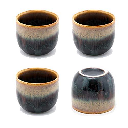 Happy Sales, Japanese Design Ceramic Sake Set Tokkuri 5 fl oz Bottle with Two Sake Ochoko Cups 2 fl oz (BlackBrown)