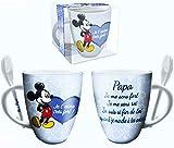 Mickey Mug Je t'aime très Fort ! mug avec cuillère (Papa)