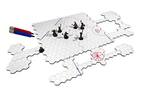 Grid de Batalha Hexagonal Modular Riscável RPG - 18 Pçs -
