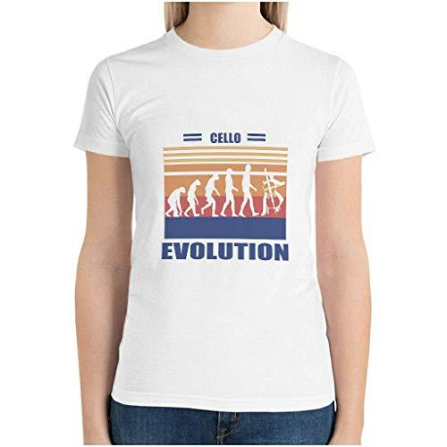 Camiseta de algodón para mujer, diseño de evolución de violonchelo, divertida camiseta de hobby blanco S