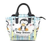 IUBBKI Penguin Cartoon Cute Top Handle Satchel Handbags Bolso de cuero con remaches y hombro ajustable para mujer