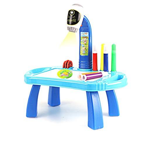 DBSUFV Proyector de pintura Lámpara de mesa de juguete Tablero de escritura Mesa de estudio Mini iluminación de escritorio Proyector inteligente (Azul)