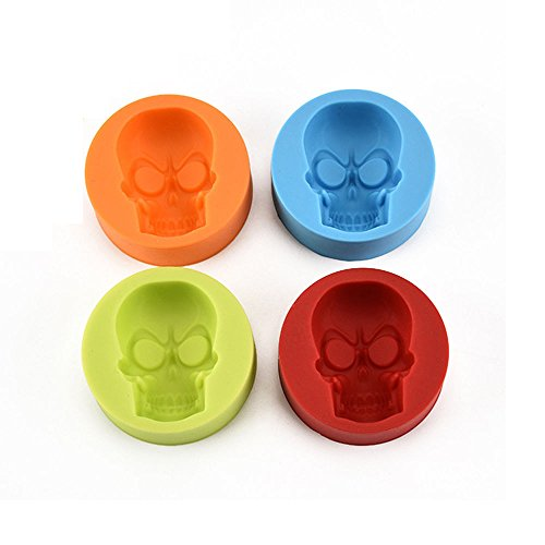 OverDose Damen Pop Halloween Home Bar 3D Real Skull Silikonform Schokolade Fondant Kuchen Backform Horror Geschenk Machen
