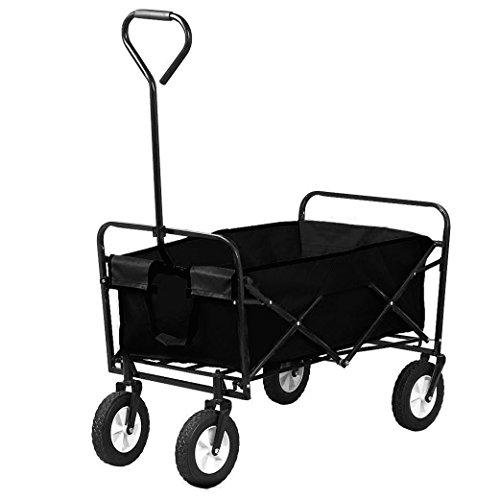 Oypla Black Heavy Duty Foldable Garden Trolley Folding Cart Wagon Truck...