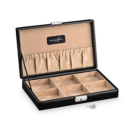 Hermann Jäckle - Taschenuhren Sammler Box Urach I Uhren-Box für 6 Taschenuhren I Uhrenkasten schwarz in Nappaoptik I Aufbewahrung für Taschenuhren I Uhrenbox für Uhren I abschließbare Uhren-Box