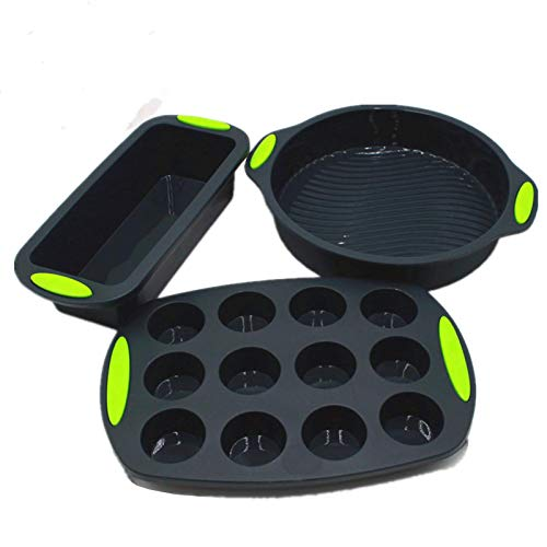 Silicone Bakeware Pan set Cake Molds for Baking Sheet Muffin 12 cup Toast Loaf Bread Pizza Pan Tray Round Square With Handle Grips Nonstick,Oven Microwave Dishwasher Safe…